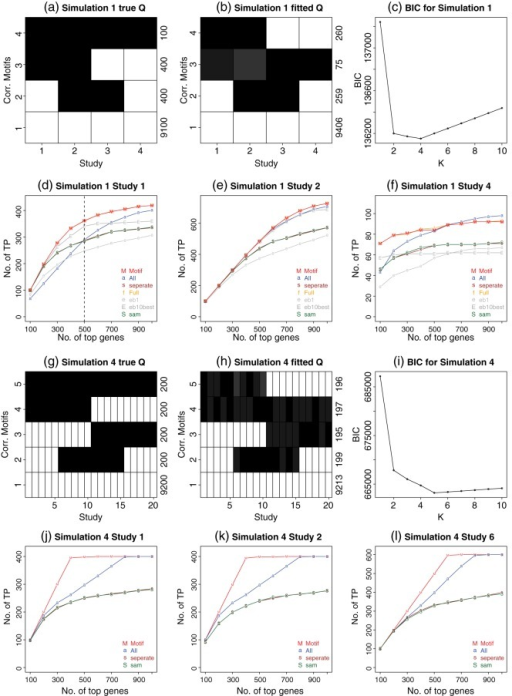Results for the model assumption-based simulations (simulations 1 and 4). Also see supplemental Figure A.1 available at Biostatistics online for simulations 2 and 3. (a) and (g) True motif patterns for simulations 1 and 4. The  of the true motifs is shown. Each row indicates a motif pattern and each column represents a study. The actual number of genes belonging to each motif (i.e. ) is displayed at the right end of each row. The gray scale of the cell  demonstrates the probability of differential expression in study  for pattern . Black means 1 and white means 0. (b) and (h) The estimated  from the learned motifs with  annotated at the end of each row. (c) and (i) BIC plots. It can be seen that motif patterns reported by CorMotif under the minimal BIC are similar to the true underlying motif patterns. (d)–(f) and (j)–(l) Gene ranking performance of different methods in simulations 1 and 4. , the number of genes that are truly differentially expressed in study  among the top  ranked genes by a given method, is plotted against the rank cutoff . For each simulation, results for a few representative studies are shown. Each plot is for one study.