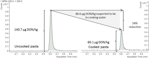 Selected reaction monitoring (SRM) chromatograms of the naturally deoxynivalenol (DON) contaminated pasta before and after culinary treatment at 140.7 µg/kg and 60.1 µg/kg, respectively, on a dry weight basis, and percentage of mycotoxin reduction.
