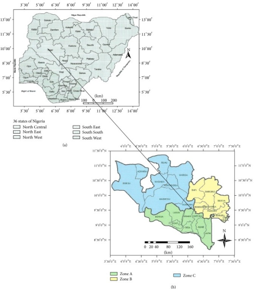 (a) Map of Nigeria showing location of Niger State. (b) Map of Niger State showing the three agroecological zones in the state.