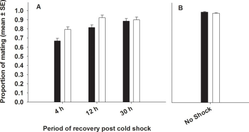 Effect of cold shock (A) or no shock (B) on mating success. Closed bars represent FCB and open bars represent FSB populations. (A) Selection and period had significant effects on mating success. However, Selection × period interaction was not significant. (B) Under no-shock treatment, there was no significant difference in mating success between FSB and FCB males.