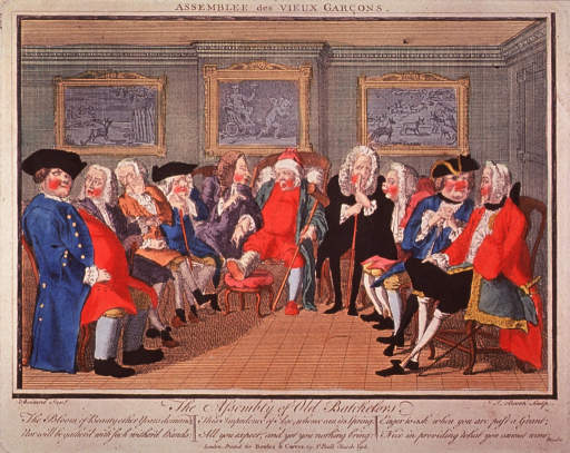 <p>A group of old men are sitting together in a half-circle; in the center an old man with gout is having his pulse taken by the man sitting to his right; three pictures hang on the wall in the background.</p>