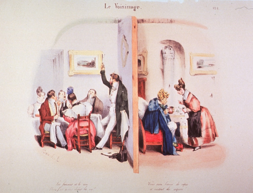 <p>Interior view showing scenes on each side of a wall: left, a man proposes a toast to a group seated at a table amid many wine bottles; right, a sick man in bedclothes is helped by a woman.</p>