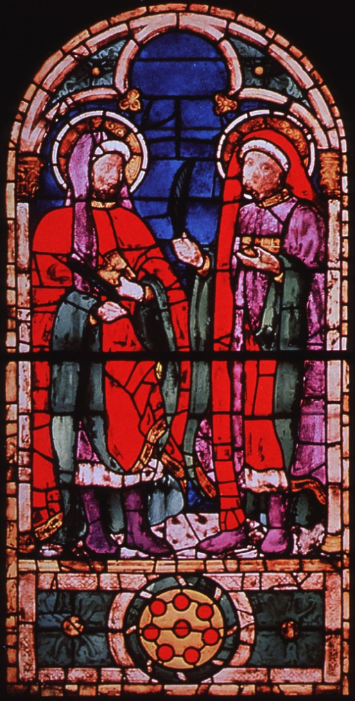 <p>Reproduction of stained glass window showing Saints Cosmas and Damian.</p>