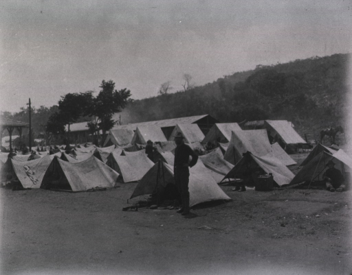 <p>View of a tent camp occupied by U. S. engineers.</p>