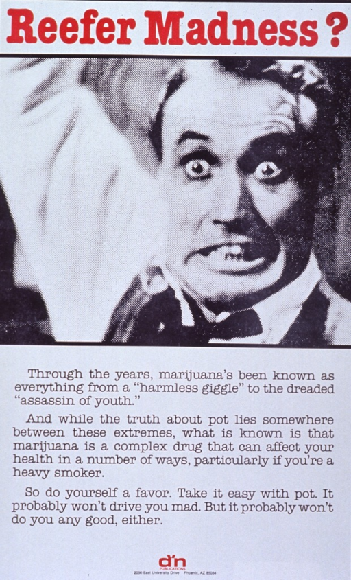 <p>White poster with red and black lettering.  Title at top of poster.  Visual image, directly below title, is a reproduction of a b&amp;w photo of a man with a crazed look and one arm upraised.  Lengthy caption below photo.  Publisher logo at bottom of poster.</p>