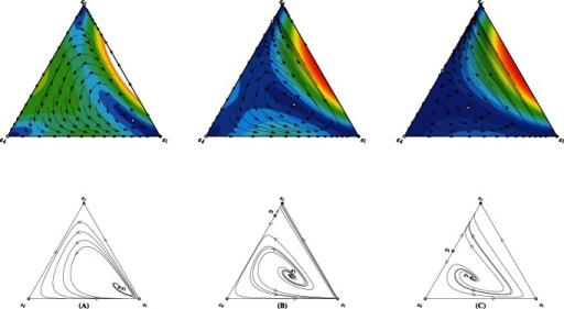 Triangle plots illustrating the population dynamics for defectors (), cooperators () and loners () for trajectories starting from all possible initial frequencies for the linear risk removal pattern.Each vertex represents a homogeneous population of that pure strategy.  For small interest rate , there is only one nontrivial fixed point () located inside the simplex . All trajectories starting from inside of the simplex  invariable lead to the unique convergent equilibrium .  For modest , except , there also exists another nontrivial fixed point located in the line  (). Instead the cooperators' attraction basin covers absolutely large fraction of the inside area of the simplex , and loners' attraction basin is almost negligible. If defectors are abundant, the population dynamics oscillate around the unique unstable interior fixed point  with increasing amplitude and eventually converges to the full cooperative state . Otherwise, the population directly drives towards .  Further increase in  continue to expand the cooperators' attraction basin. It should be noted that even , loners' attraction basin, albeit narrows, does not vanish. Relevant parameters ,  and , , .