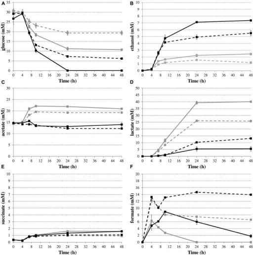 Time profiles of glucose consumption (A) and production of the metabolites ethanol (B), acetate (C), lactate (D), succinate (E), and formate (F) during fermentative growth of E. coli MG1655 wild-type (solid lines) or ΔhycE (dashed lines) containing pTrc99A (gray) or pTrc99A-Ptrc-budAB (black) in LB medium with 5 g/l glucose, 1 mM IPTG and 100 μg/ml Ap at 37°C for 48 h. Error bars represent SD.