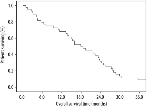 Kaplan-Meier overall survival of patients treated with concurrent chemoradiotherapy with split low-dose cisplatin-vinorelbine followed by 2 additional courses of consolidation chemotherapy, 17.8 months ([(95% CIs), 11.4–24.4).