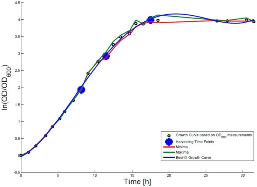 Growth curve for E. coli DH5α-pCMV-lacZ. The growth curve based on OD600 measurements is marked by small black circles and the appropriate best-fit curve is indicated in blue. The harvesting time points T1, T2, and T3 are presented as bold big points. The minimum–maximum area, within which the measurement values have to reside, is bordered by the red curve (minimal measured OD600 value) and the green curve (maximal measured OD600 value).