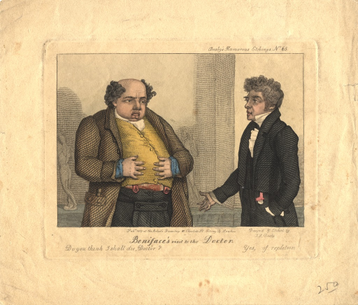 <p>A rotund gentleman consults his physician.</p>