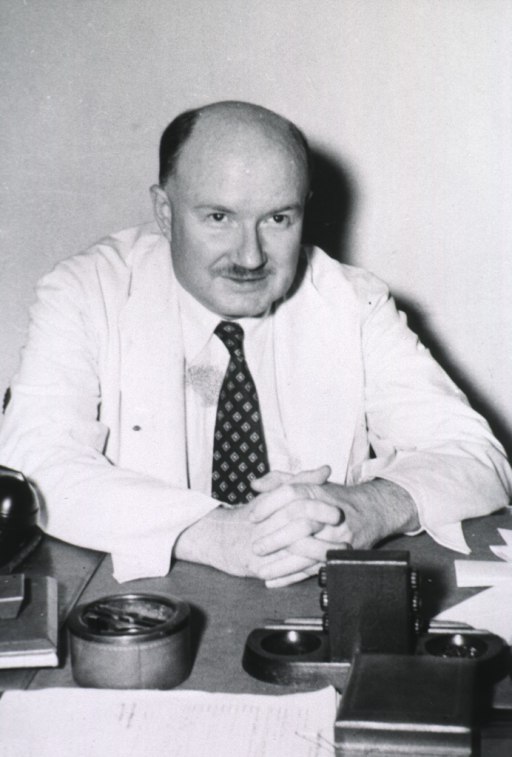 <p>Seated at desk, full face, hands in front, white coat.</p>