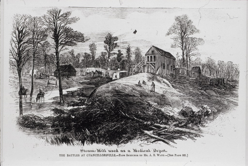 <p>Steam-mill used as a medical depot during the battles at Chancellorsville, 1863.  Exterior view.</p>