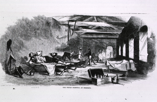 <p>The Fever hospital at Granada.  Interior view, with men on cots; medical chest, open, in foreground, on floor.</p>