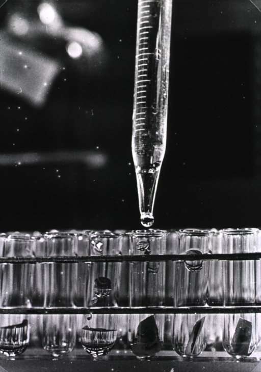 <p>Drops of a liquid fall from a calibrated pipette into test tubes.</p>