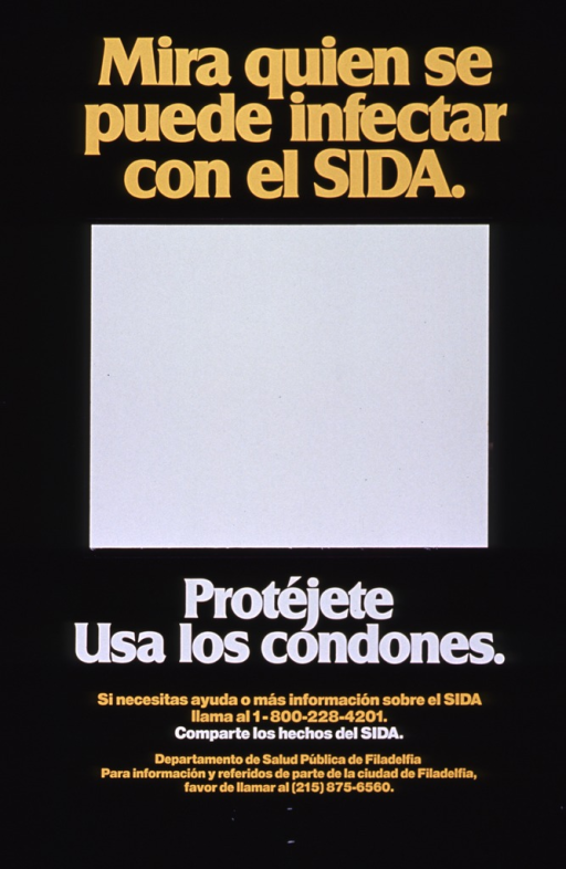 <p>Predominantly black poster with yellow and white lettering.  Title at top of poster.  Shiny, reflective synthetic material attached to poster below title, as if to form a mirror.  Caption, note, and publisher information below mirror.</p>