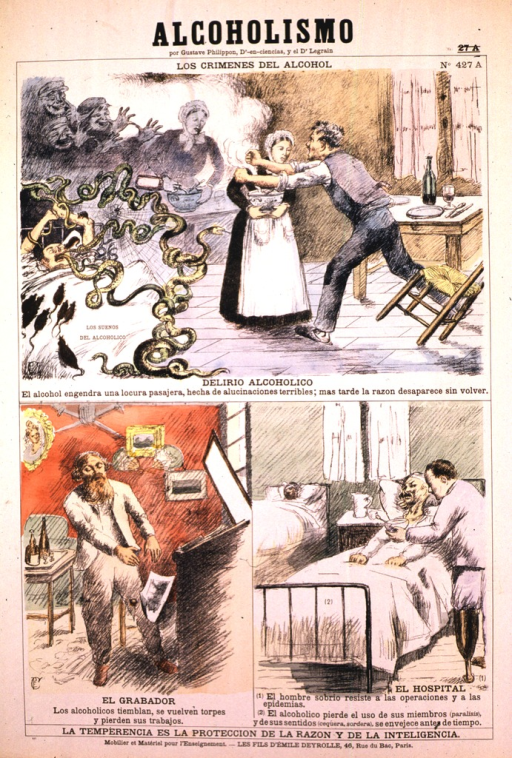 <p>Three separate scenes describe the science of alcoholism.  The crimes of alcoholism include a man sleeping in a bed with snake-like creatures coming out of his mouth.  Another man is rising from a table, knocking over a chair, and assaulting a woman.  The engraver is becoming less able to do his work.  Paper is falling from the desk to the ground, the engraver is trying to catch it to no avail.  And finally the hospital.  A man lies in bed while another holds a bowl of soup in front of him.</p>