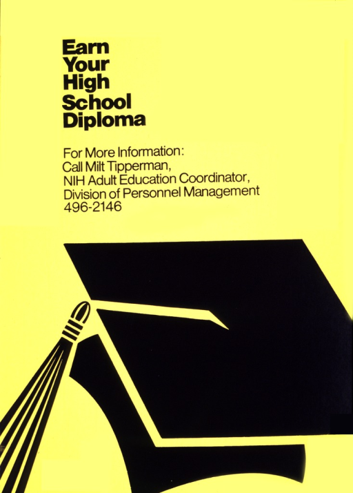 <p>The poster is yellow with black print and a large outline of a graduation cap in black and yellow.  A phone number is also given.</p>