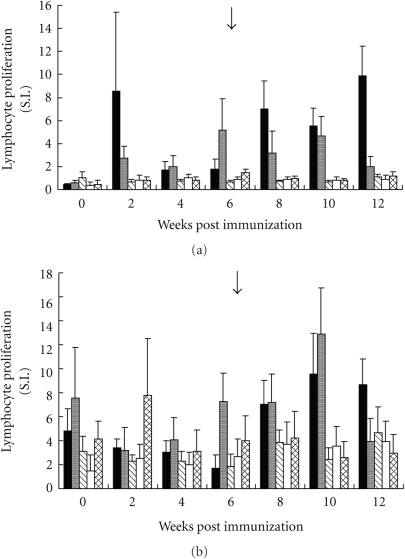 Peripheral lymphoproliferative response of lambs along the experimental immunization and challenge with 16000 third stage larvae of H. contortus in the presence of 1 μg/mL recombinant protein (rHcp26/23) (a) and 5 μg/mL adult soluble extract (ASE) of the helminth (b). SI: Stimulation index. Arrow: day of challenge. Values are the means ± standard deviation of three determinations. G1: solid bars; G2: grey bars; G3: stripped bars; G4: white bars; G5: woven bars.