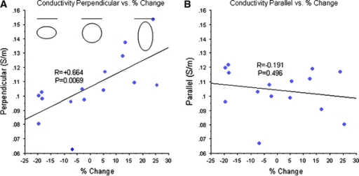Line graphs showing the relationship between the percent change in electrical conductivity by axis (calculated as (((Cond. Perp. − Cond. Par.)/Cond. Perp.)) × 100)) compared with conductivity velocities perpendicular (a) and parallel (b) to the pial surface by patient. Conductivities perpendicular (vertical) to the pial surface positively correlated with percent change (P = 0.0069) while conductivities parallel (horizontal) to the pial surface did not (P = 0.496). The changes in electrical conductivities relative to axis direction are illustrated in the oval shapes at the top of (a) (line above ovals represents the pial surface). Negative percent change indicate greater anisotropic shapes with the main axis horizontal to the pial surface, values near zero indicate isotropic shapes, and positive percent changes reflect anisotropic shapes with the main axis and vertical to the pial surface