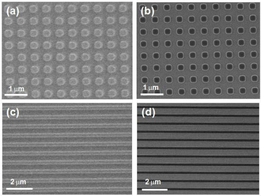 SEM images of nanopattern from NIL results on the SiO2/Si substrates including a square lattice of circular pillars of 300 nm diameter with a 200 nm pitch. before (a) and after (b) reactive ion etching, lines of 300 nm width with a pitch of 200 nm before (c) and after (d) reactive ion etching.