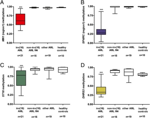Hypomethylation signature in inv(16) AML. Hypomethylation of MN1(A), SPARC(B), ST18(C) and DHRS3(D) regulatory regions in inv(16) patients compared to AML M4 without inv(16), other AML subtypes and healthy controls; asterisks correspond to statistically significant changes of expression in inv(16) patients versus other groups, ***P < 0.0001.