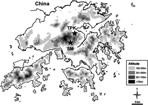 Locations of the two study reaches in Tai Po Kau Forest Stream (TPK) and Lead Mine Pass Stream (SM).