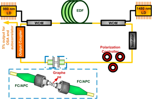 The schematic diagram of transmission-type passively mode locked EDFL.The passively mode-locked EDFL system with the graphene saturable absorber attached on the end-face of SMF patchcord.