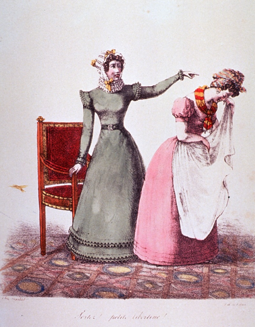 <p>A woman standing by a chair admonishes a pregnant girl, who has turned away holding her apron to her face, weeping.</p>