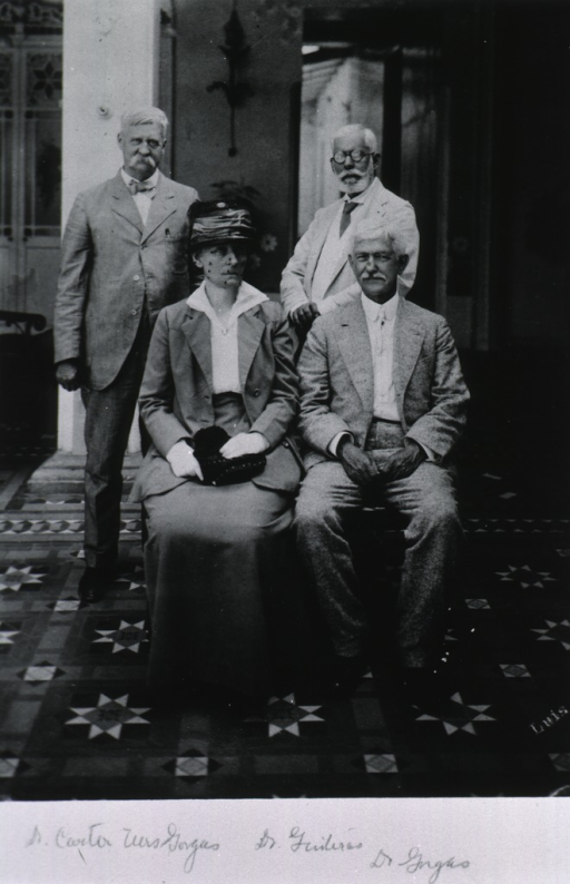 <p>Standing with Drs. Quiteras and Gorgas, and Mrs. Gorgas.</p>