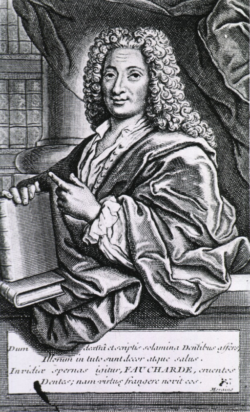 <p>Half-length, left pose, full face, his right hand is on an upright book, and he appears to be pointing with his left hand to bookshelves in the background.</p>