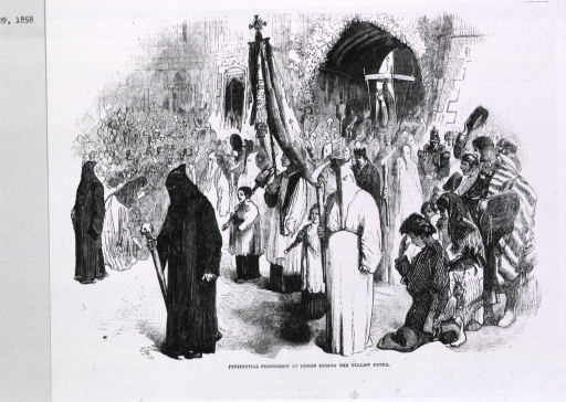 <p>Penitential procession at Lisbon during the yellow fever, coming out of the church with people kneeling in the street.</p>