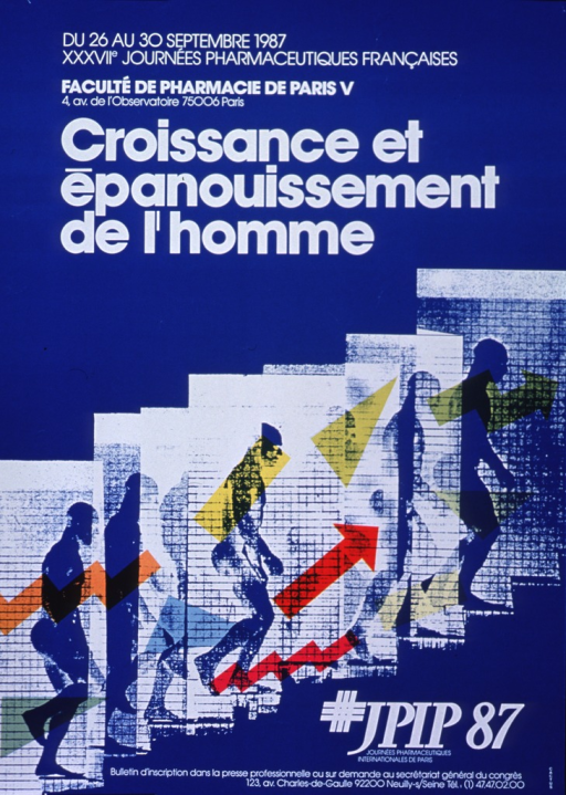 <p>Royal blue poster with white lettering announcing meeting, Aug. - Sept. 1987.  Also lists dates, location, and contact information.  Logistical information and title at top of poster.  Visual image on poster is a profile view of a man ascending some stairs, with multicolor shapes emphasizing both ascent and motion.  Bottom of poster features contact information.</p>