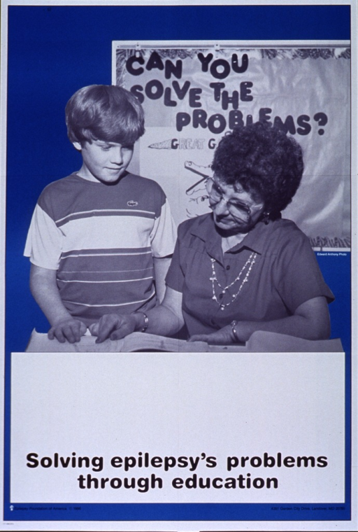 <p>Turquoise and white poster with black lettering.  Visual image dominates top of poster.  Image is a reproduction of a b&amp;w photo featuring a teacher working with a student.  A bulletin board in the background reads &quot;can you solve the problems.&quot;  Large white space below photo, as if space for contact information, though none given.  Title at bottom of white space.  Publisher information at bottom of poster.</p>