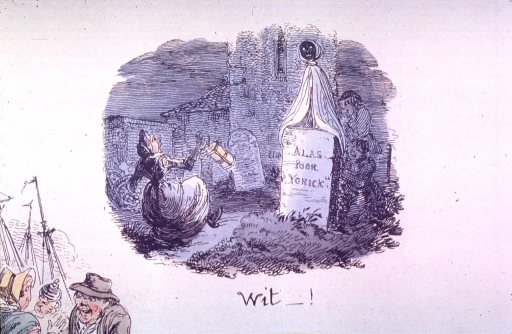 <p>A woman with a lantern and a basket is entering a cemetery.</p>