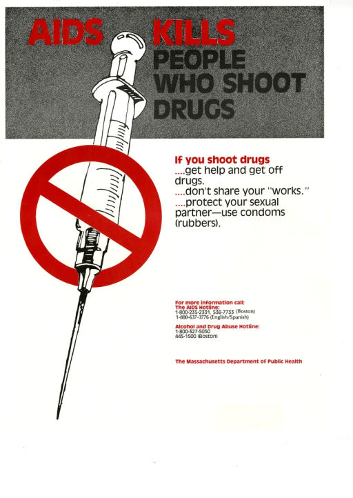 <p>Predominantly white poster with black and red lettering.  Title at top of poster.  Visual image is an illustration of a syringe with a red &quot;do not&quot; sign superimposed on it.  Caption to right of illustration.  Publisher information in lower right corner.</p>