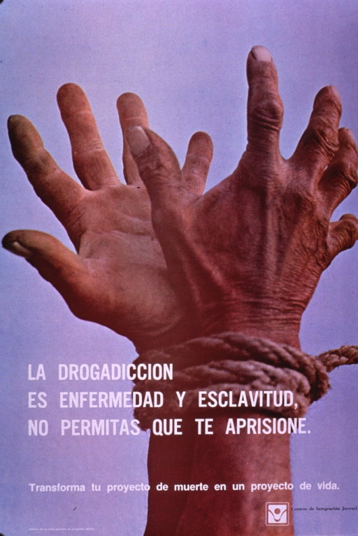 <p>Predominantly light blue poster with white and black lettering.  Visual image is a color photo reproduction featuring two hands that are tightly bound together with rope.  Title and caption superimposed on photo in lower portion of poster.  Caption urges transforming a project of death into a project of life.  Publisher information in lower right corner.</p>