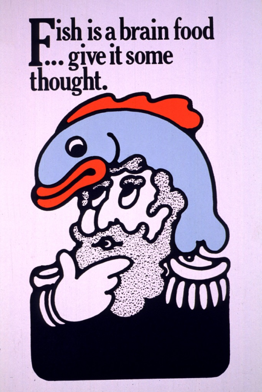 <p>The poster shows a drawing of a man in uniform, either military or a sea captain, with a light blue and orange fish on his head.  He has his hand to his chin as if pondering an idea.</p>