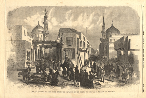 <p>The sick and dead are carried through the narrow streets of the neighborhood in various conveyances in the midst of a milling crowd.  Domes are minarets rise in the background.</p>
