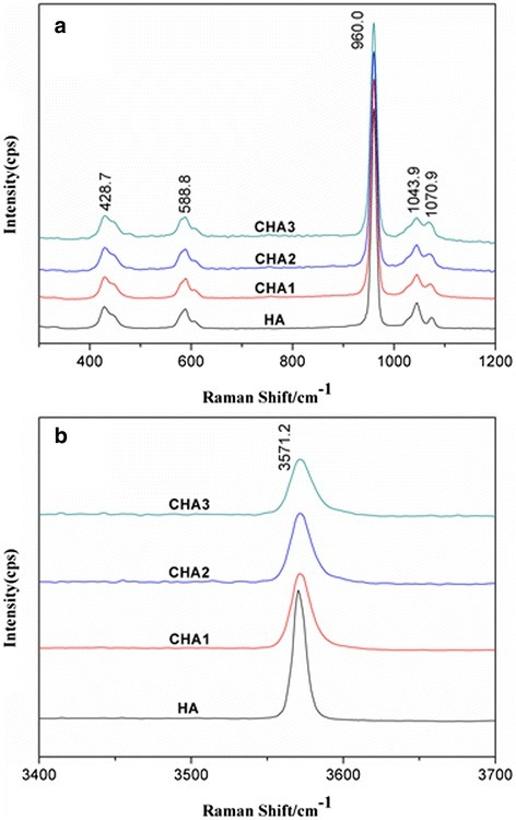 Raman spectra of synthesized nanorods: a in the region 300–1200 cm-1, b in the region 3400–3700 cm-1