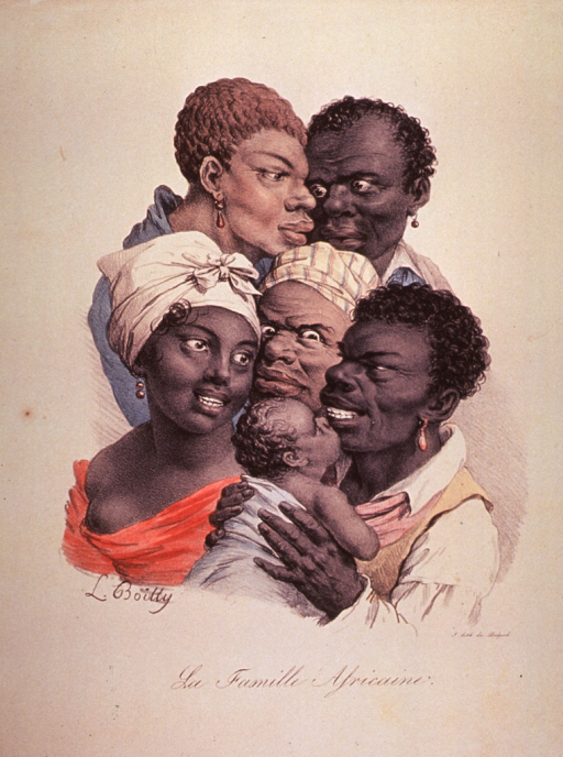 <p>The physiognomy of African women; head and shoulders, group of five and one infant.</p>