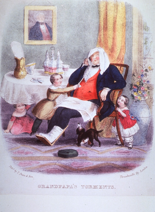 <p>A old man with a bandaged foot is snoozing in his chair while three children and a dog play around him.</p>