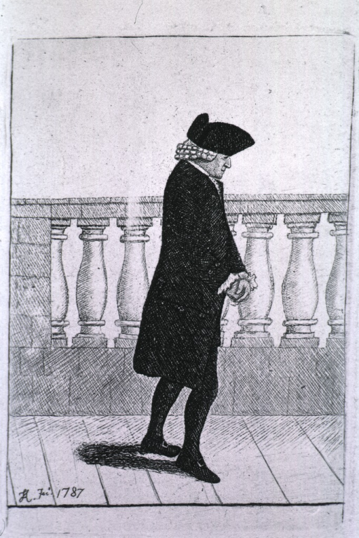 <p>Standing, full length in right profile, wearing hat and coat.</p>