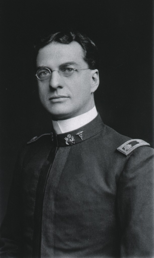 <p>Head and shoulders, left pose, full face; wearing uniform and glasses; age 38.</p>