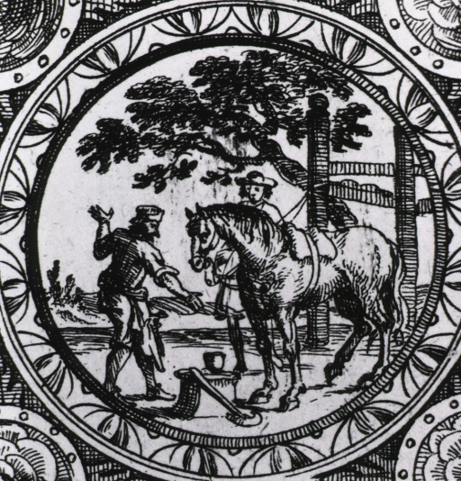 <p>Two men prepare to shoe a horse.</p>