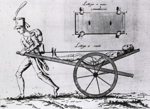 <p>Left profile view of a stretcher that is mounted on wheels and being drawn by one man; the stretcher is hinged so that the patient can be kept somewhat level.</p>