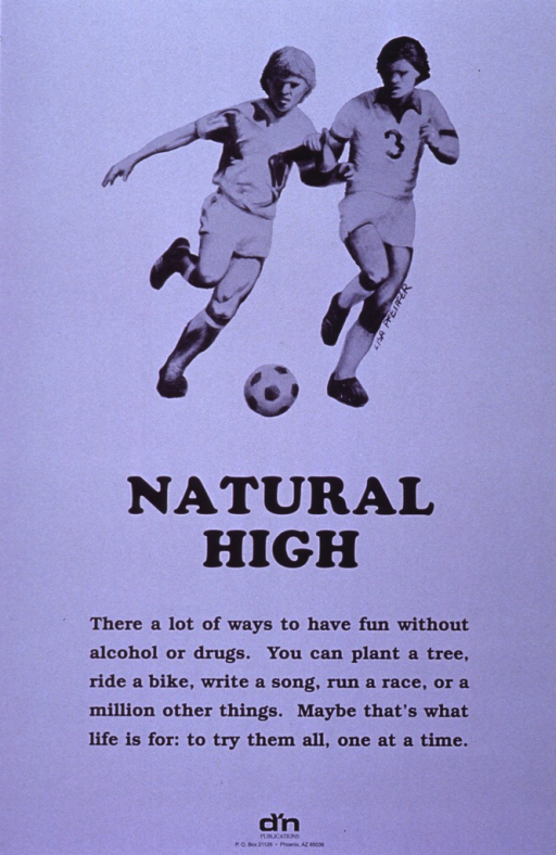<p>Purple poster with black lettering.  Top of poster features reproduction of hand drawing of two boys playing soccer.  Title and caption below drawing.  Publisher logo at bottom of poster.</p>
