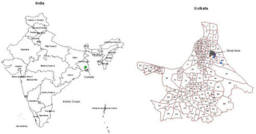 The location of the study area in Kolkata, India. The two referral hospitals of the typhoid program are shown in blue flags.