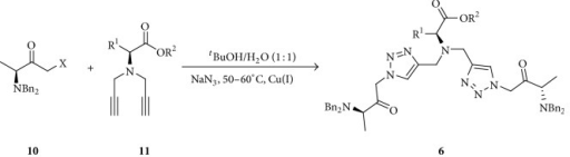 Synthesis of bis-(1,2,3-triazolyl) compounds using modified α-amino acids.