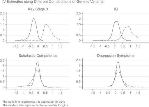 Distribution of point estimates from multiple IV models with different sets of instruments: Cognitive skills and mental health.