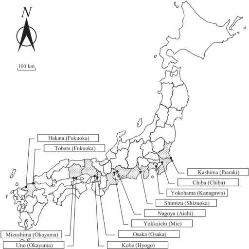 Twelve ports in Japan that import oilseed rape; we surveyed Brassica napus (plants originating from spilled seeds), B. juncea, and B. rapa populations around these unloading ports.